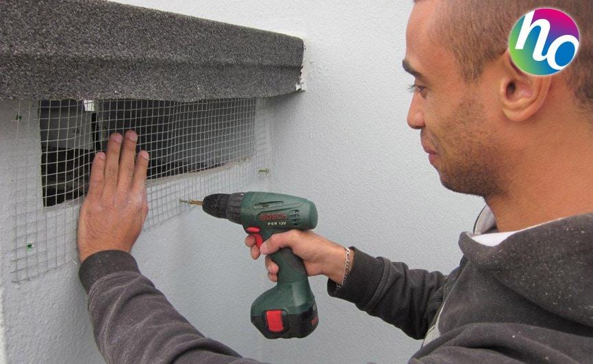 Hygiène Office, protection contre pigeons - mise en place d'un grillage